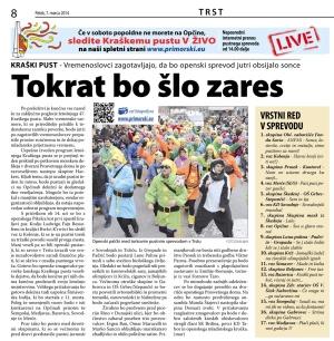 Primorski dnevnik, 7. marec 2014